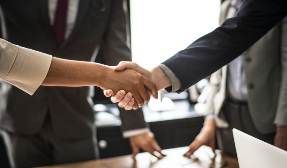 Business agreement in professional setting