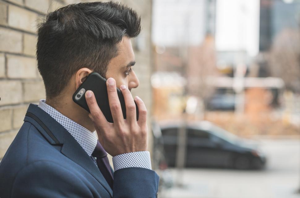 Businessman on phone call